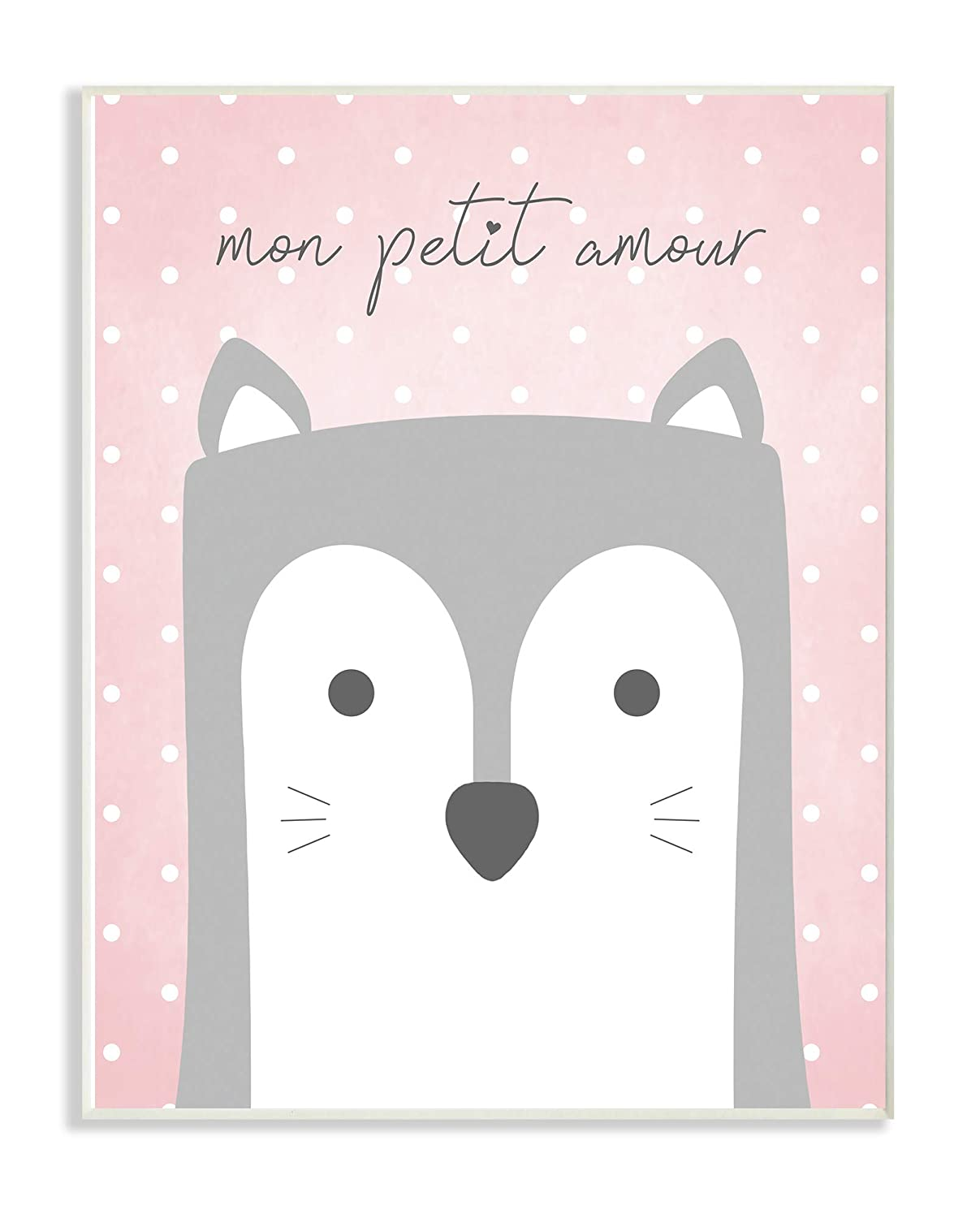 The Kids Room by Stupell Mon Petit Amour Grey Fox with Pink Polka dots Framed Giclee Texturized Art 16 x 20 Multi-Color Stupell Industries brp-2358/_fr/_16x20