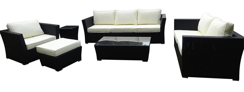Baidani 10c00027 Rattan Garten Lounge Garnitur Treasure - Schwarz