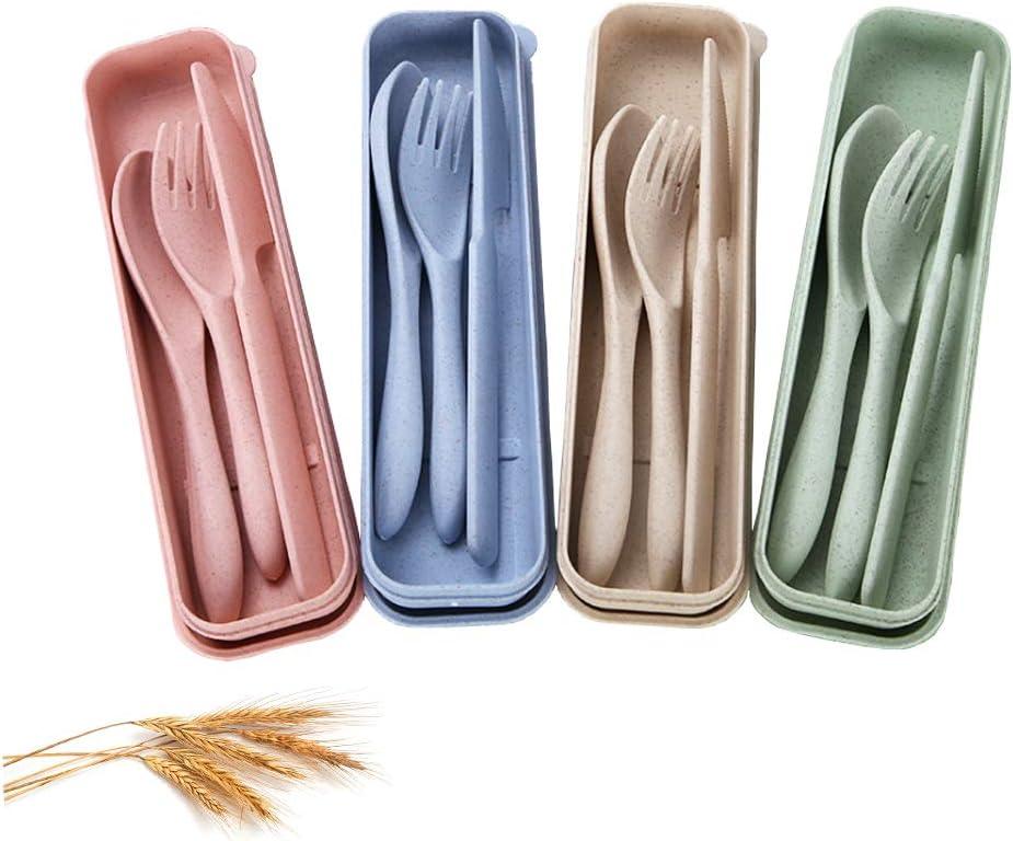 SLKIJDHFB Cubiertos de paja de trigo 4 Juegos de Cubiertos portátiles, vajilla de cuchillo, tenedor y cuchara para niños adultos uso diario, picnic y camping 4 colores
