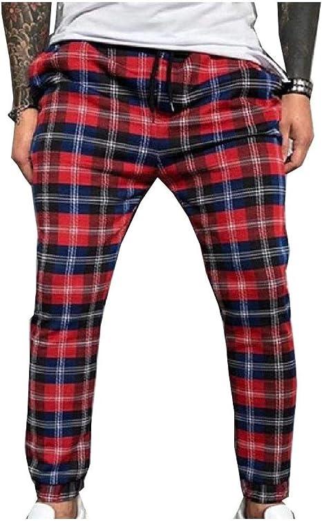 EnergyWD Men's Stylish Mid-rise Close Bottom Casual Athletic Plaid Pants