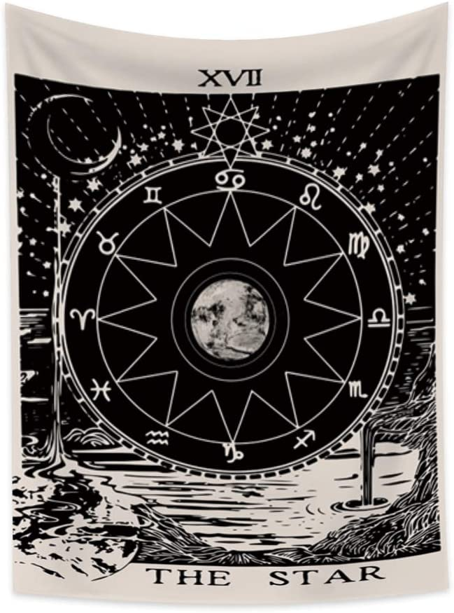 Lfeey Vintage Tarot Tapestry The Star Sun Moon Wall Hanging Psychedelic River 12 Constellations Zodiac Medieval Europe Divination Ivory Black Blanket for Bedroom Living Room Dorm Decor 27.6
