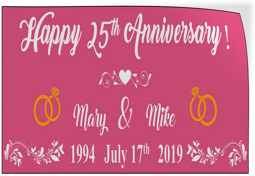 Custom Door Decals Vinyl Stickers Multiple Sizes Happy Anniversary Husband Wife Names B Lifestyle Happy Anniversary Outdoor Luggage /& Bumper Stickers for Cars Pink 72X48Inches Set of 2