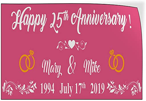 Custom Door Decals Vinyl Stickers Multiple Sizes Happy Anniversary Husband Wife B Lifestyle Happy Anniversary Outdoor Luggage /& Bumper Stickers for Cars Green 34X22Inches Set of 10