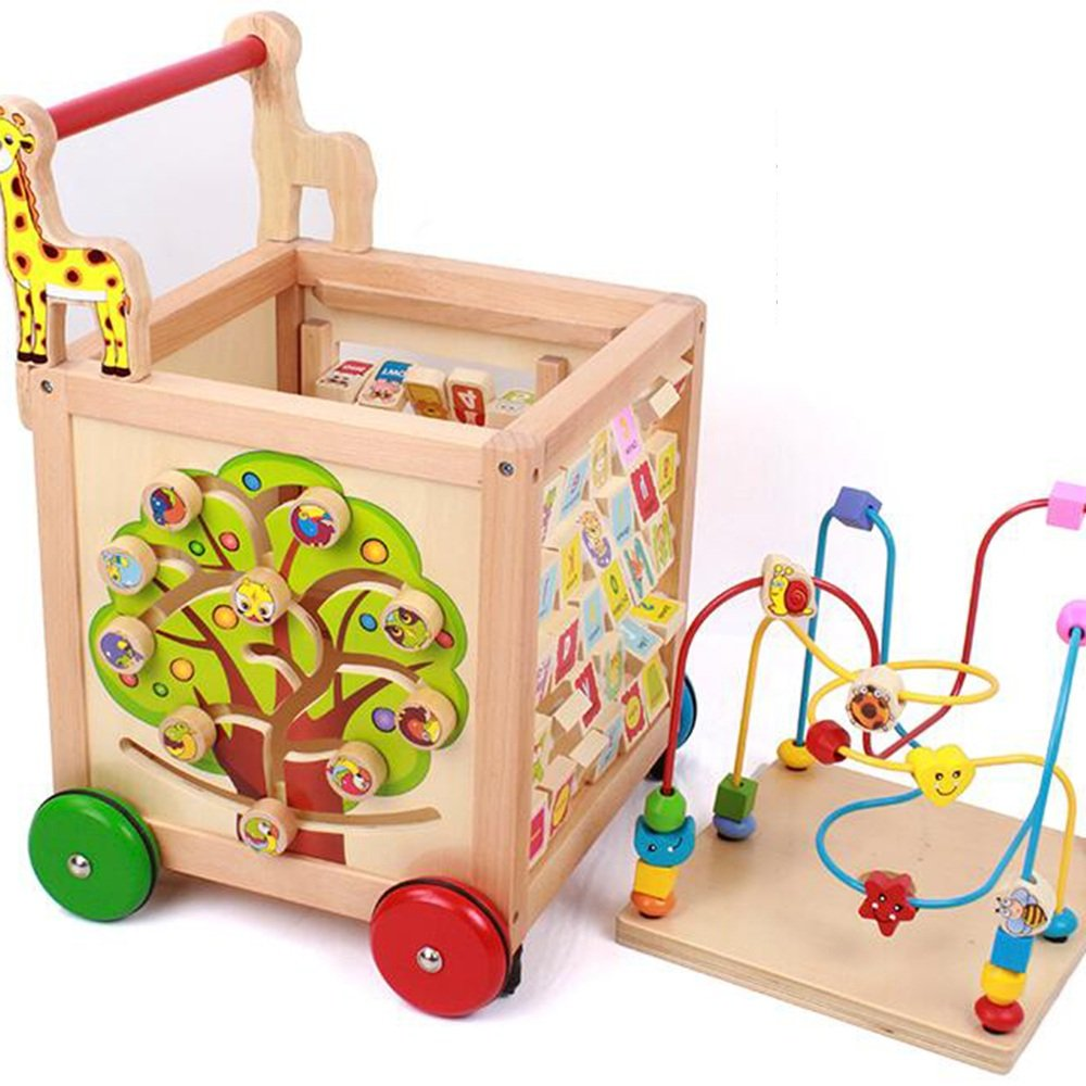 MEIDUO toys Children Toys Tetrahedron Around The Beads Hand Carts Treasure Chest Baby Walker Toys Storage Boxes Around The Beads Toys
