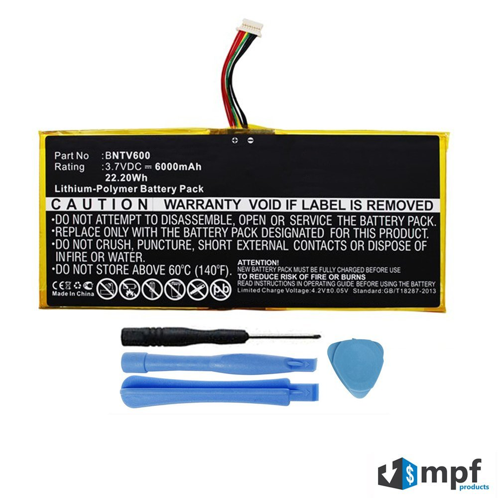 """Replacement 6000mAh AVPB002-A110-01, GB-S02-308594-0100 Battery for Barnes & Noble NOOK HD+ Plus 9"""" BNTV600 Tablet with Installation Tools by MPF Products®"""