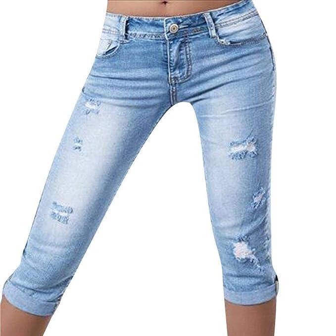 bf845ef5b8 Mujeres Slim Fit Skinny Seven Damas Quarter Color Jeans Sólido Mediados De  Cintura Joven Blue Jeans Agujero Roto Recortado 3 4 Leggings Pantalones  Women  ...