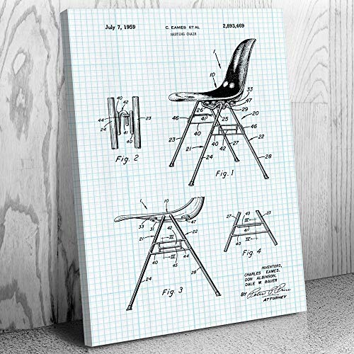 - Eames Nesting Chair Canvas Print, Designer Gifts, Furniture Maker, Herman Miller, 50s Nostalgia, Retro Furniture Graph Paper (12