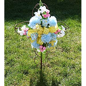 Spring Cemetery Cross, Cemetery Cross with Flowers, Easter Cemetery Cross 8