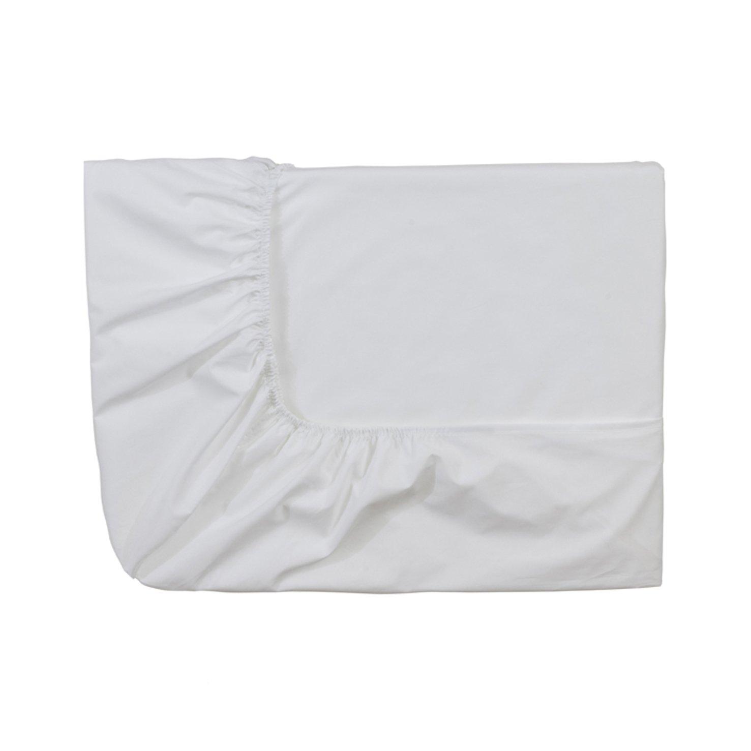Essix Royal Line–Lenzuolo con angoli elasticizzati, in percalle di cotone, bianco, 80x 200cm Essix Home Collection 3359100147922