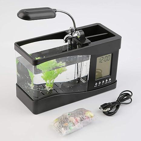 Funnyrunstore Lámpara de Escritorio del USB Mini Tanque de Pescados del LCD del Acuario del Contador