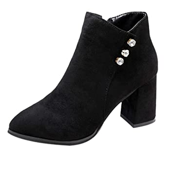 LuckyGirls Botas Ante para Mujer Rhinestone Botitas Botín Botas de Nieve Moda Zapatos de Tacón 7.5cm: Amazon.es: Deportes y aire libre
