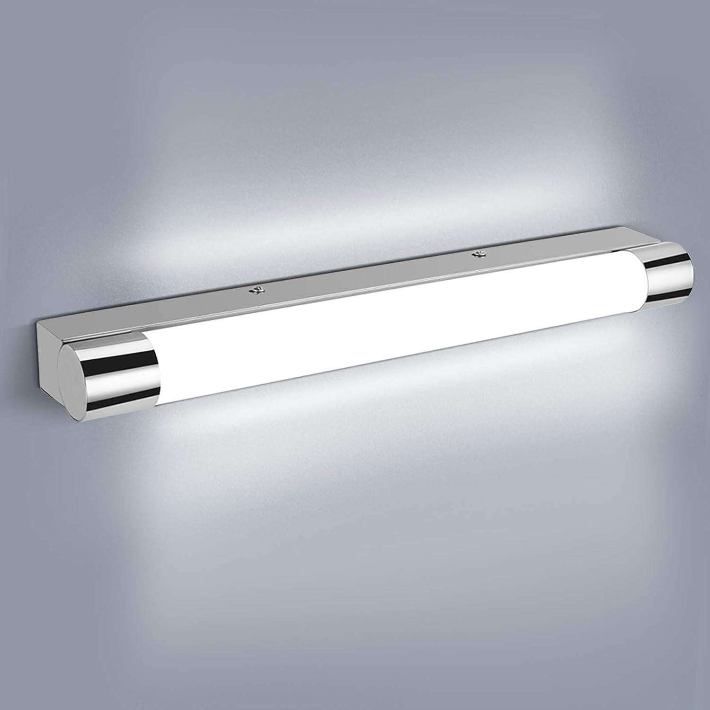 OOWOLF 9W Lámpara de Espejo Baño, IP44 6000K 1200LM Luz De Espejo Blanco Frío, 42cm/16.6in Lámpara LED de Pared Aplique de Baño Acero Inoxidable Contra Niebla Para Maquillaje, Espejo, Baño