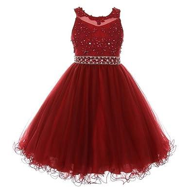 3849072f873 Cinderella Couture Little Girls Burgundy Rhinestone Pearl Beaded Mesh  Flower Girl Dress 4