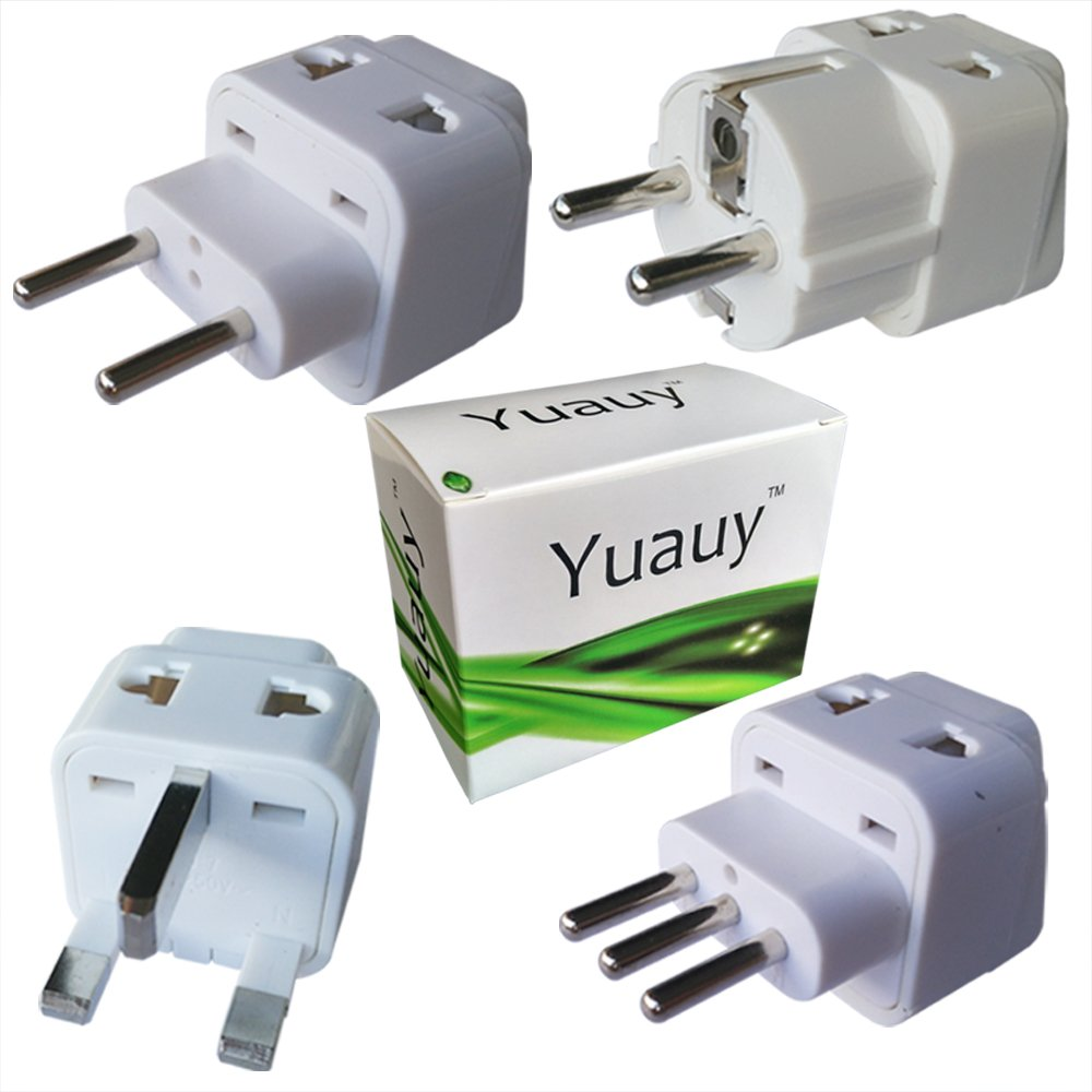 Yuauy 4 PCs White 2 in 1 TRAVEL ADAPTER Charger Adapter Wall Plug Power Jack Converter Pack w/ Dual Plug-in Ports for ALL countries in EUROPE FRANCE SPAIN ITALY GERMANY UNITED KINGDOM ENGLAND NORWAY