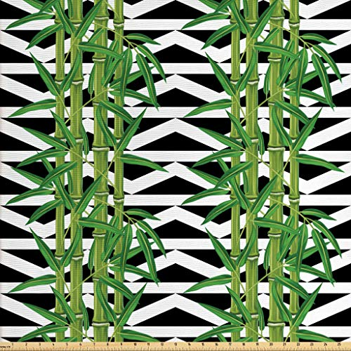 Lunarable Bamboo Fabric by The Yard, Japanese Jungle Eco Theme Tropical Nature Growth with Geometric Backdrop, Decorative Fabric for Upholstery and Home Accents, 1 Yard, Black White Green