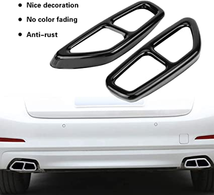 Yctze Car Tailpipe Trim,2Pcs Car Stainless Steel Black Exhaust Tailpipe Cover Trim for 5 Series G30 2017-2018