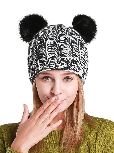 Cappello Invernale Cappello Beanie Cappelli Berretti con Orecchie per Donne  Nero  Amazon.it  Abbigliamento c638e29c5267