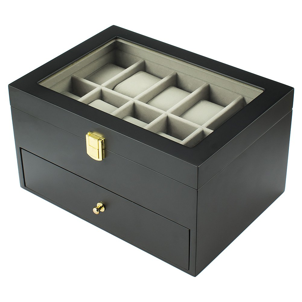 Spirited 10 Slot Watch Box Display Jewelry Storage Black For Watches Or Jewelry Boxes, Cases & Watch Winders