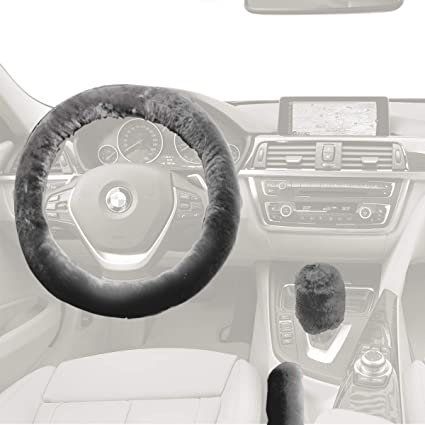 amazon com custom plush faux sheepskin stretch on vehicle steeringamazon com custom plush faux sheepskin stretch on vehicle steering wheel cover gray thermal car wheel protector automotive