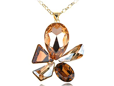Amazon alilang golden tone topaz swarovski crystal element alilang golden tone topaz swarovski crystal element abstract jewel flower pendant necklace aloadofball Images