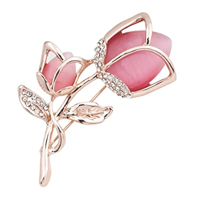 FENGJI Tulip Flowers Gold and Silver Plated Rhinestone Brooch Pin for Women Ladies Festival Gift (White,Hot Pink)