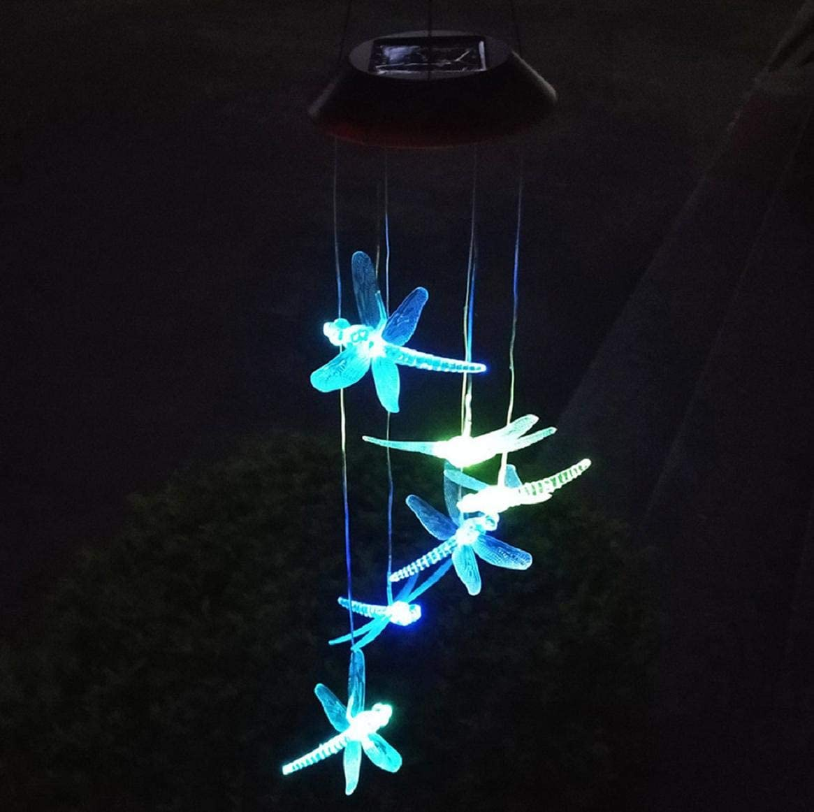 Outdoor LED Solar Waterproof Dragonflies Solar Powered Wind Chimes for Yard//Home//Garden//Festival Decor Color-Changing Lights Boddenly Dragonfly Solar Wind Chimes Solar Power Wind Chime