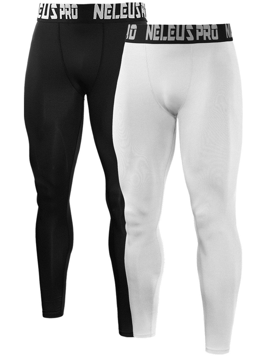 Neleus Men's 2 Pack Compression Tights Sport Running Leggings Pants,6019,Black,White,US S,EU M
