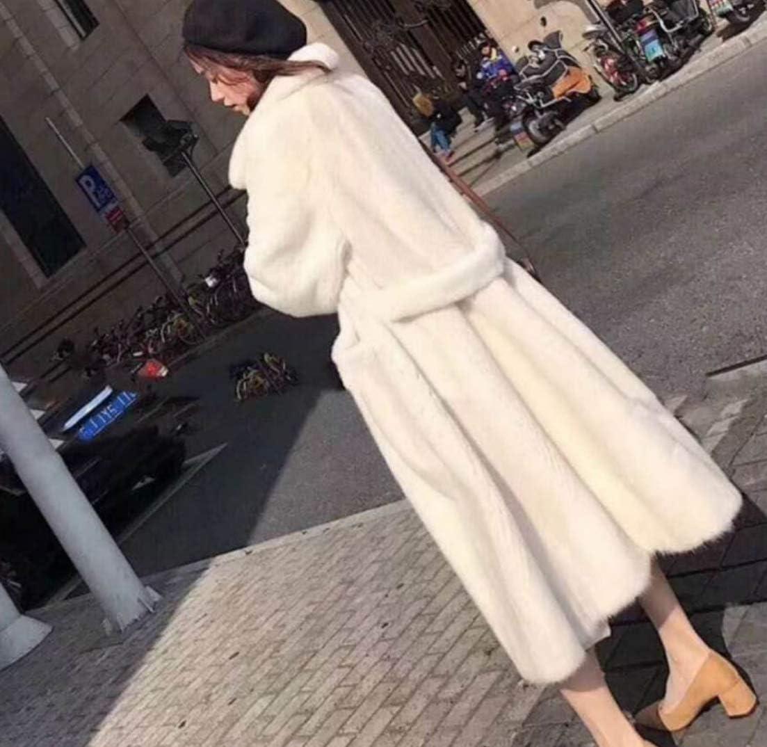 Sallypan Quotidiano Lungo Faux Fur Coat delle Donne, Inverno Caldo Colore Solido Manica Lunga Preparazione per la Sera Faux Fur Coat White