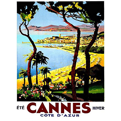 Wee Blue Coo Travel Tourism Cannes Cote D'Azur Beach Film Festival France Advert Unframed Wall Art Print Poster Home Decor Premium