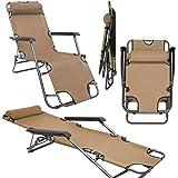 Folding Sun Lounger Foldable Deck Chair Reclining Garden Chair 153 cm + leg rest reclining back + headrest Beige