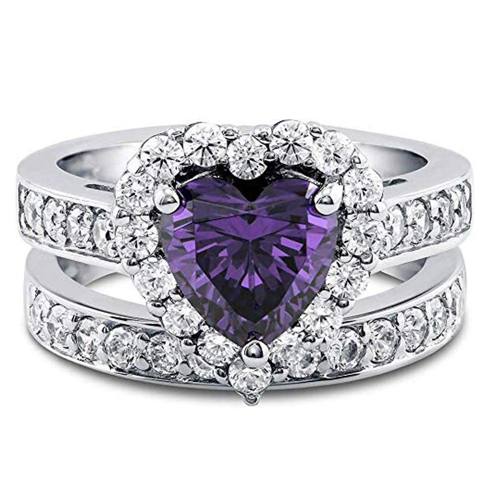 luxrygold 2.82 CT Round Cut Sim Purple Amethyst & Cz Diamond Heart Shaped Halo Engagement Ring Set