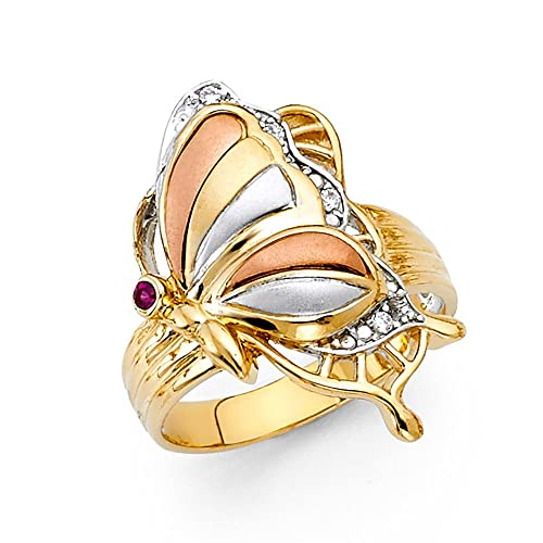 14K Solid Gold Brilliant Tri-color Cubic Zirconia Fancy Butterfly Ring