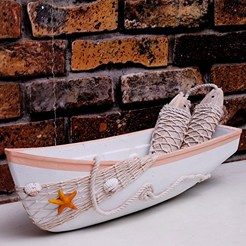 Waroom Home Beach Theme Display Boat Tray with Star Fish Sea Shell and Fish Net, 17''L, White Wooden Nautical Boat Decor, Miniature Boat Model, Decorative Boat