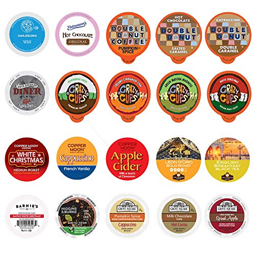 Perfect Samplers Tea Pods, Cider, Hot Chocolate, Cappuccino & Coffee Pods Variety Pack, Single Serve Coffee & K Pod…