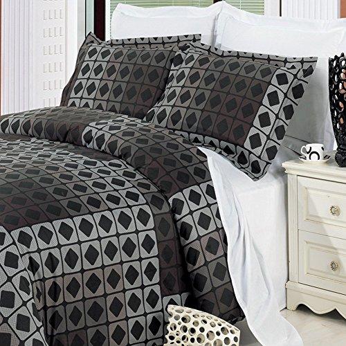 Wonderful Geometric Black Grey Boys Mens Reversible Bedding Duvet Cover Set Full/Queen