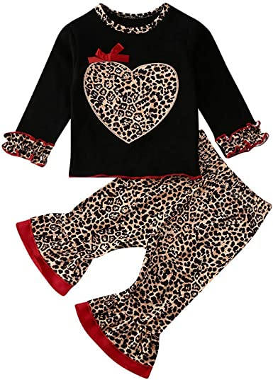 Toddler Baby Girl Valentine/'s Clothes Fashion Tops T-shirt+Leggings Outfit Set