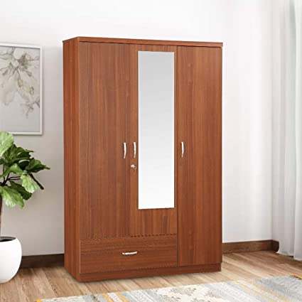 HomeTown Ultima Melamine Faced Chipboard Three Door Wardrobe in Regato  Walnut Color