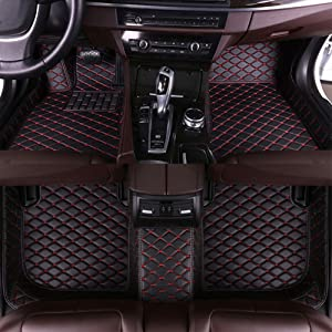 8X-SPEED Car Floor Mats for BMW 2004-2019 X1 X2 X3 X4 X5 X6 X7 E39 E53 E70 E71 E83 E84 F15 F16 F25 F26 G02 G05 G07 Luxury All Weather Protection Waterproof Front and Rear Leather Liner Set Black red