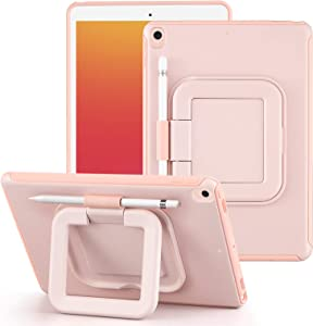 LovRug iPad 8th/7th Generation Case 10.2 Inch 2020/2019 with Pencil Holder [360 Degree Rotating Multi-Functional Grip Stand][Shock Proof] Hard Back Protective Cover Cases (Pink)