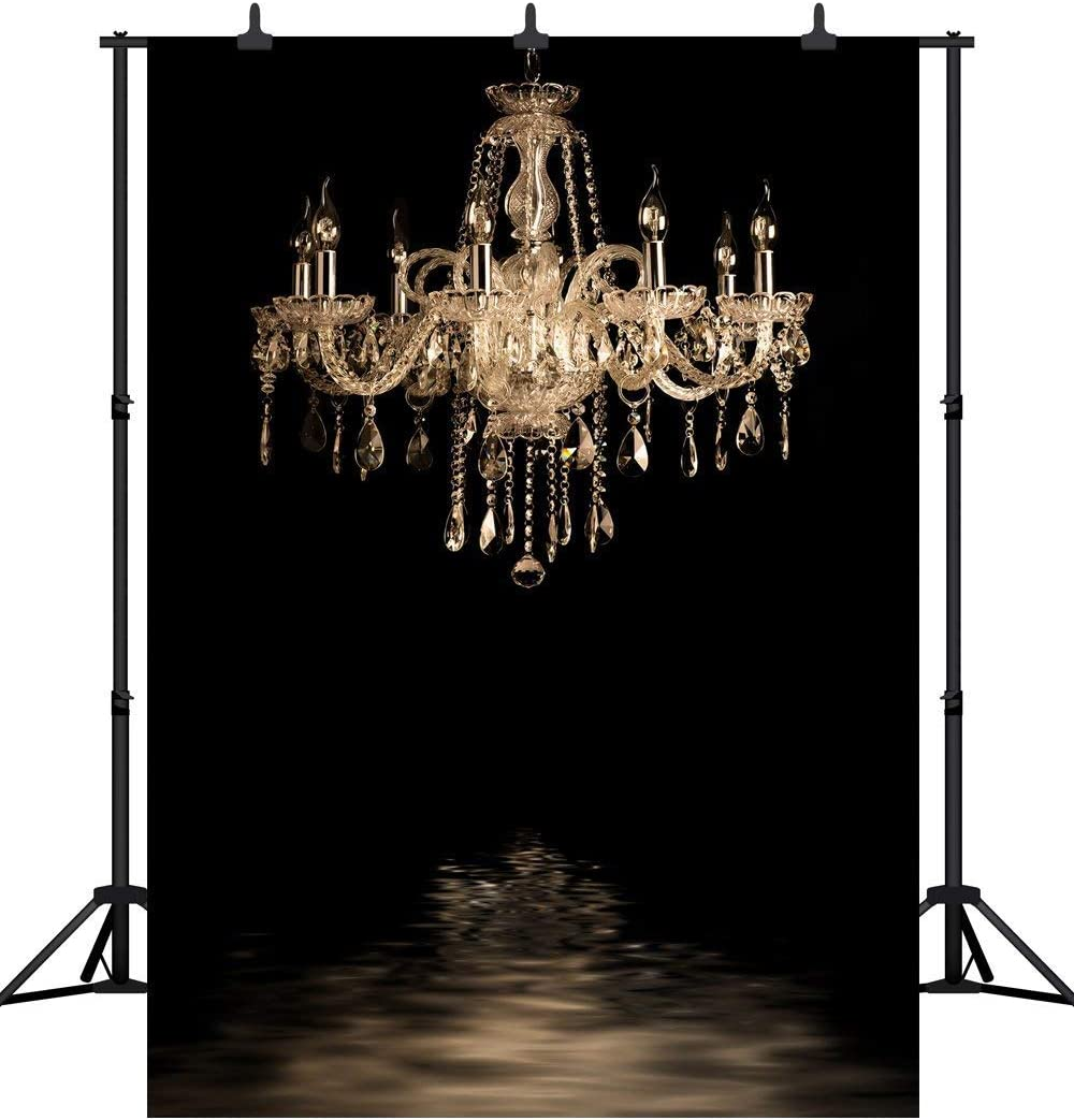 Black Bedroom Gold Chandelier Seamless Vinyl Photography Backdrop Booth Photo Background Studio Prop PGT136B GoEoo 6X9FT 180X270CM