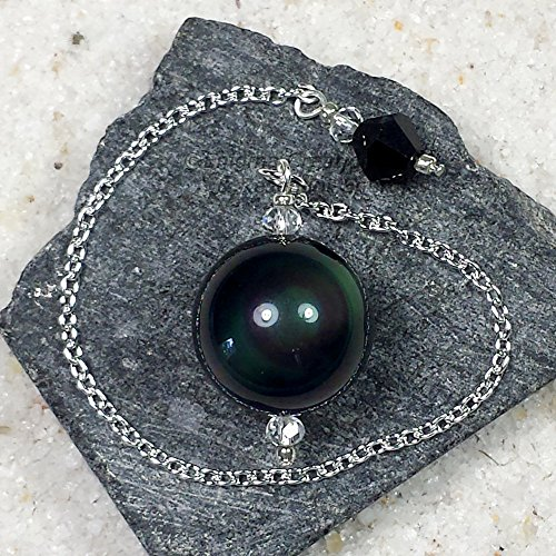 Rainbow Obsidian Crystal Sphere Pendulum w/ Czech Crystal Finger Grip, SSP36 (Crystal Pendulum Finger)