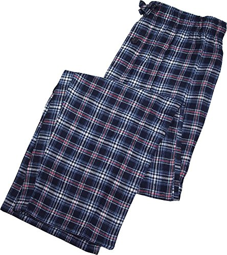 Fruit of the Loom - Mens Flannel Plaid Sleep Lounge Pant, Blue, White 39768-X-Large