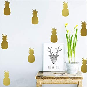 Wociaosmd 3D Pineapple Room Decoration Wall Stickers Fridge Home Decor Kids Room Mural Art Sticker (Gold)