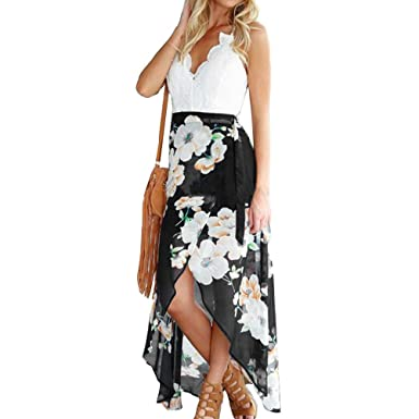 4abc7b211f3 VertHome Women s Sexy V Neck Backless Beach Dress Irregular Hemline Lace Chiffon  Maxi Dress Floral Long