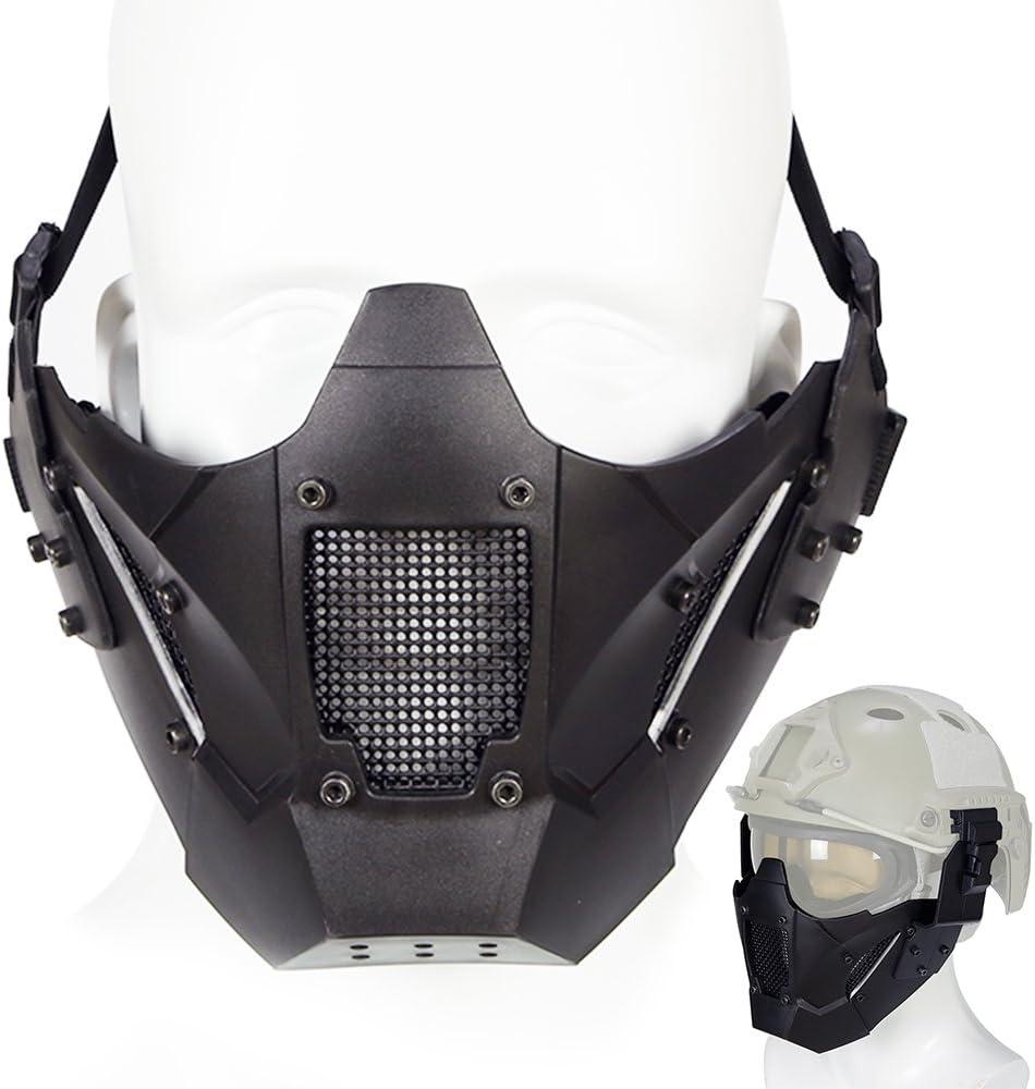ATAIRSOFT Tactical Half Face Máscara de Malla Fit Riel de Casco rápido para Airsoft Hunting Paintball CS Juego BB Disparos con Pistola