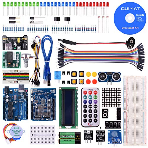 Quimat UNOR3 Project Super Starter Kit with Free Tutorial for Arduino,Complete Robotics Sensor Kit with Breadboard,Protoboard,Nano Board,5V Relay,Power Supply Module,Stepper Motor, 9V DC Battery
