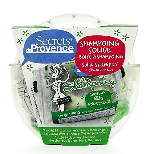 Mon shampoing solide, cheveux gras, présenté dans sa boîte - Secrets de Provence