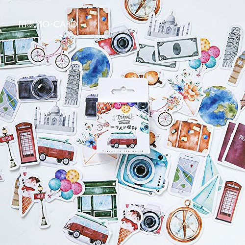 Mini Size Scrapbook Stickers, 45pcs Doraking DIY Decoration Travel Stickers Life Set for Travel Case, Laptop, Planners, Calendars, Scrapbook, Suitcase, Notebooks, Journal, Dimension Less 44mm(Travel)
