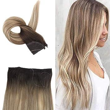 Full Shine 14 100 Brazilian Human Hair Straight With Balayage Hair Color Halo Crown Color 3