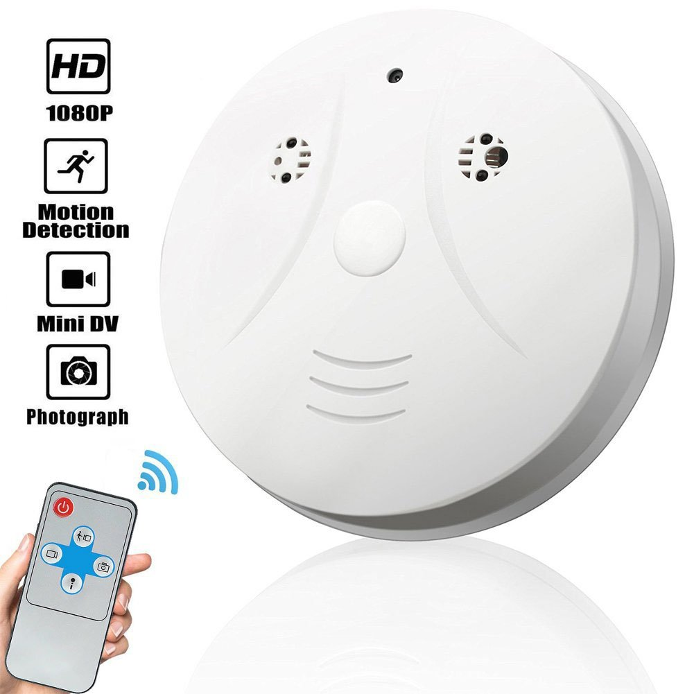 Fashionyourlife Smoke Detector Hidden Cameras 1080P Video Recorder Spy Cameras Indoor Home Security Monitoring Nanny Cams Motion Detections